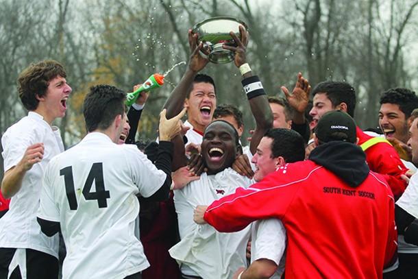 South Kent School's Prep Soccer team celebrating winning their sixth New England Championship.