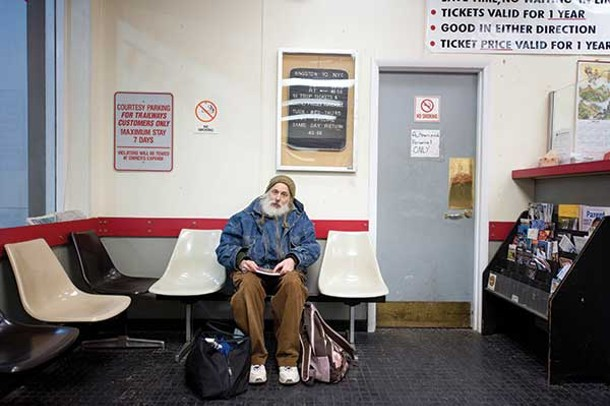 Sparrow waiting in the Kingston Trailways bus station. - HILLARY HARVEY
