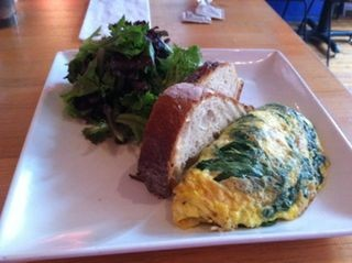Spinach and goat cheese omelet at Love Bites Cafe in Saugerties