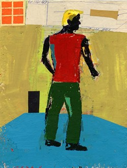 """DAVID HORNUNG - """"Standing,"""" 2014, gouache & collage elements, 9 x 6.8 inches"""