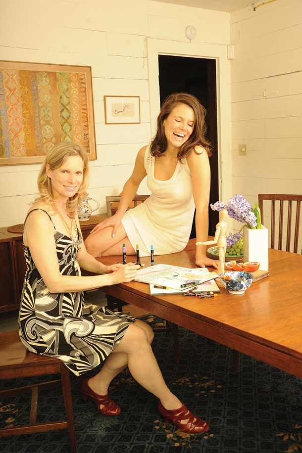 Still Life - Alexis Sarandon, on the right, is wearing a Tulle dress. Lisa Cooper, on the left, is wearing a Karina dress and Aerosols ginyard shoes with two Sherry Cohen necklaces. Clothing and shoes from Woodstock Design in Woodstock. - KELLY MERCHANT
