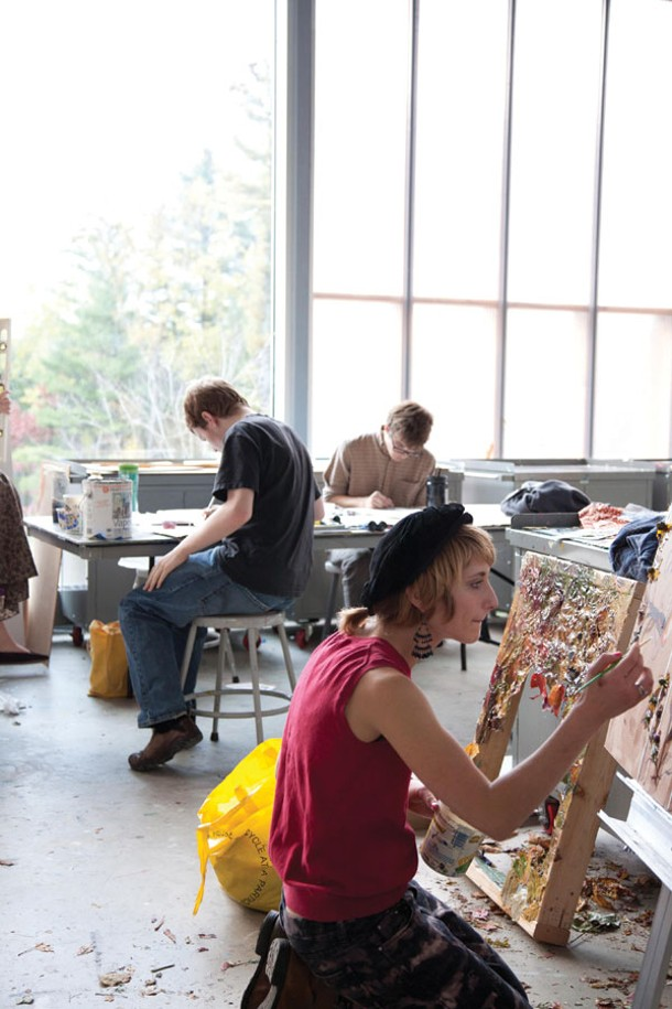 Students working in the Painting Studio course at Simon's Rock at Bard College.
