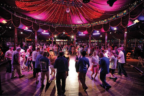 Swing dance lessons at the Spiegeltent with Chester and Linda Freeman of Got2Lindy Dance Studios.