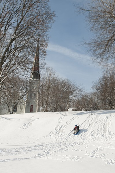 The bigger sledding dip at Cornell Park in Kingston - HILLARY HARVEY