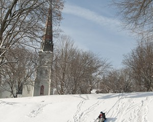 The bigger sledding dip at Cornell Park in Kingston