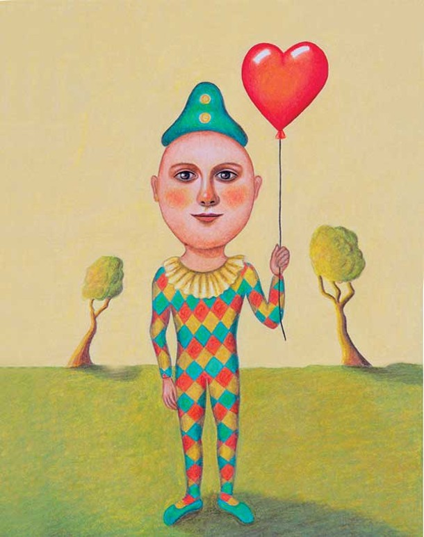 "The Boy with the Valentine Balloon, Carol Rizzo, colored pencil, 9"" X 12"", 2011."