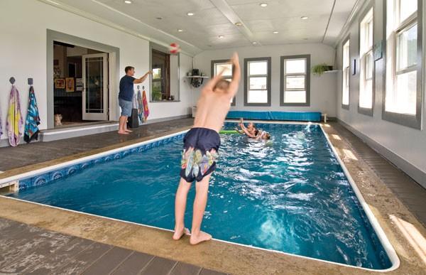 The Britt family enjoying the indoor pool.