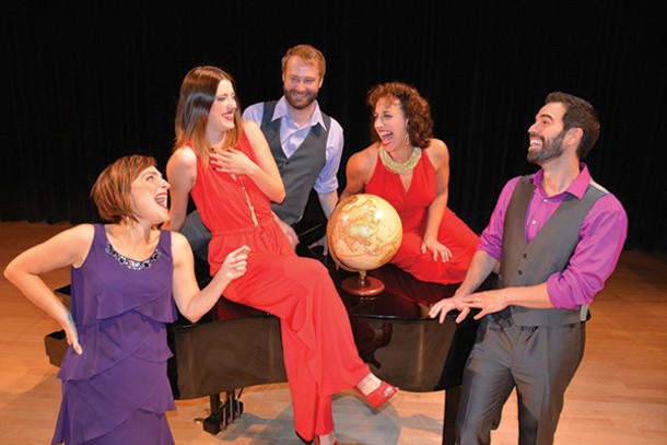 "The cast of ""The World Goes Round"": Christopher deProphetis, Melissa Marye Lehman, Kenneth Kyle Martinez, Lisa Sabin, and Denise Summerford."
