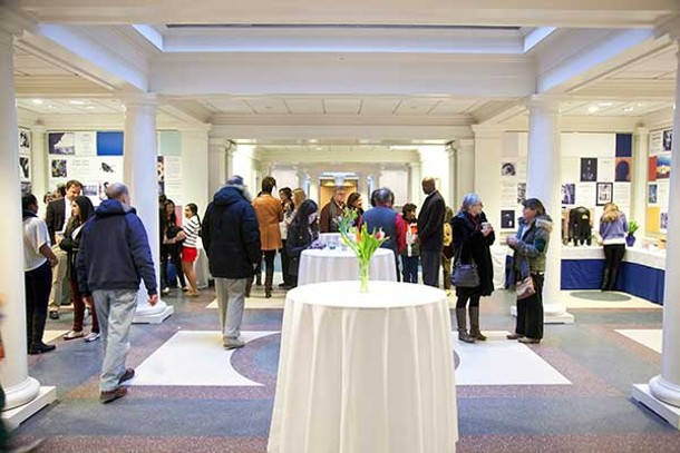 """The closing reception of the """"I Am"""" exhibit at the Hotchkiss School's Tremaine Gallery on February 2."""