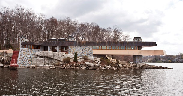 The Frank Lloyd Wright-inspired Massaro House on Petra Island in Lake Mahopac. Built in 2008, the structure is based on plans drawn up by Wright in 1951.