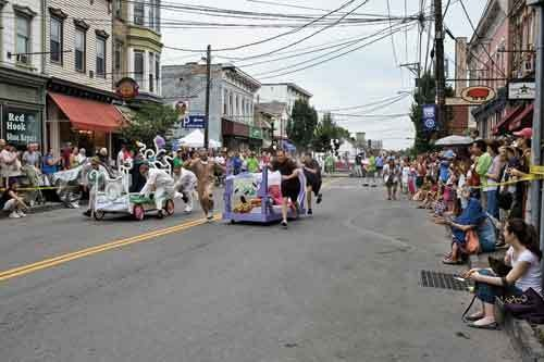 The Great Saugerties Bed Race, Partition Street, August 6. - DAVID CUNNINGHAM