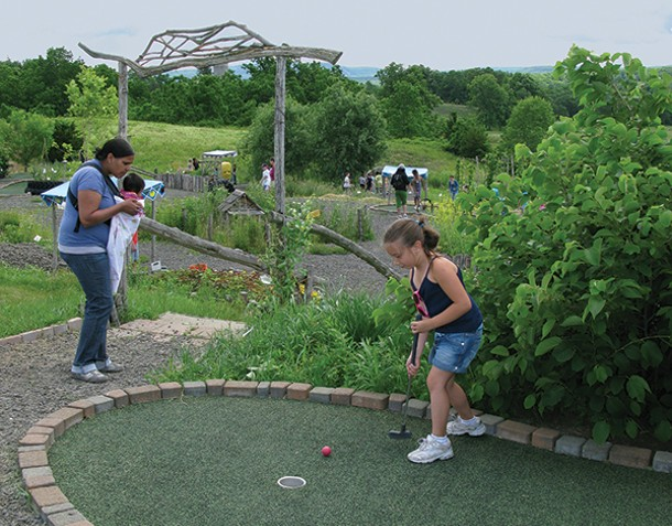 The Homegrown Mini Golf course at Kelder's Farm in Kerhonkson is surrounded by edible plants.