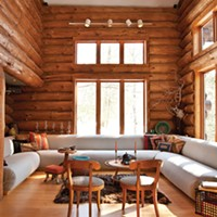 Allan Skriloff's Log Cabin The living room. Deborah Degraffenreid