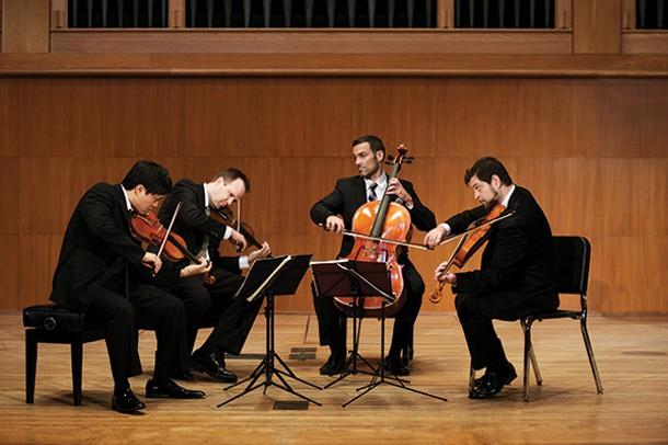 The Miró String Quartet, left to right: Joshua Gindele, cello; Daniel Ching, violin; William Fedkenheuer, violin; and John Largess, viola.