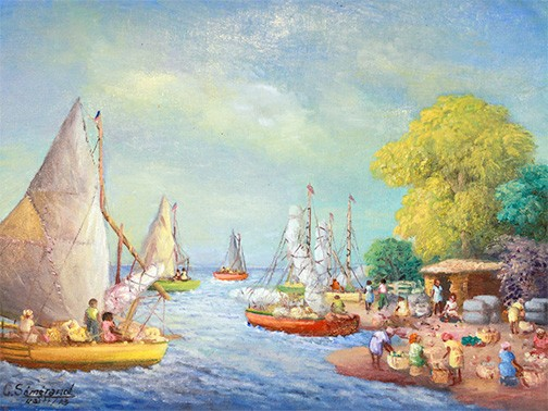 The postcard image for this year's event is a painting by Galland Semerand, titled When My Ship Comes In. Using a softer palette, the artist captures a serene moment in a coastal village. The community in the painting and its harmonious coexistence with nature remind us of the richness of life that we so often see in our mountain village of Chermaitre.