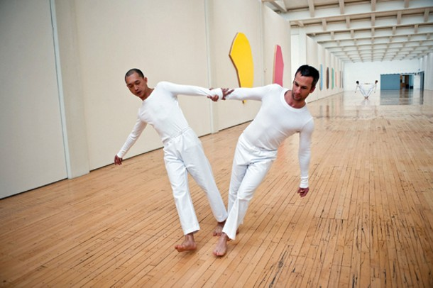 """The Trisha Brown Dance Company performing at Dia:Beacon on November 13, 2009. Dai Jian and Todd Lawrence Stone performing """"Leaning Duets."""" TBDC again performs at Dia:Beacon this month. Photo by Stephanie Berger."""