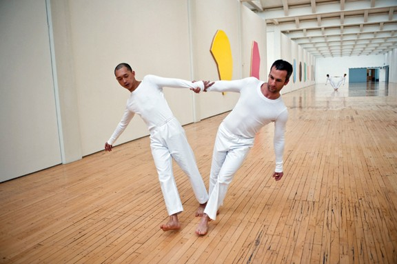 "The Trisha Brown Dance Company performing at Dia:Beacon on November 13, 2009. Dai Jian and Todd Lawrence Stone performing ""Leaning Duets."" TBDC again performs at Dia:Beacon this month. Photo by Stephanie Berger."