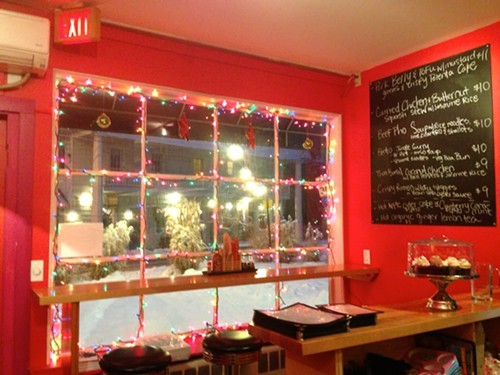 The window at Yum Yum Noodle Bar in Woodstock