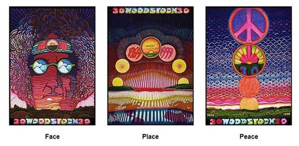 """The Woodstock Series,"" a six-color limited edition silk-screen by Jan Sawka featured in the ""Group Show #5: Mostly 3D"" at Wired Gallery in High Falls."