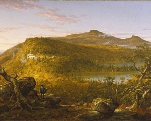 """Thomas Cole, 1844 """"A View of the Two Lakes and Mountain House, Catskill Mountains, Morning"""