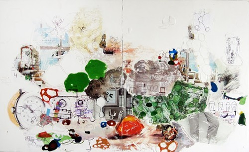 Thomas Huber, Want, 2013, mixed media on panel, diptych