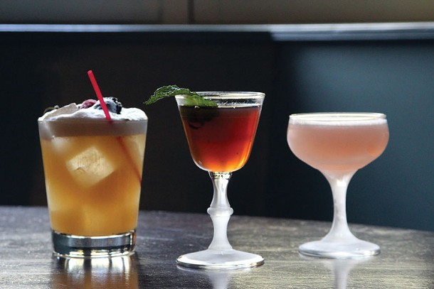 Three drinks from our Chronogram cocktail brainstorming at the Stockade Tavern: The Whiskey Sour, the Chocktail, and the New Jack Rose.