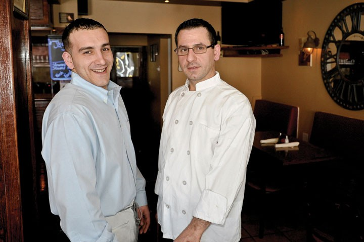 Tim and Nderim Gjokaj at Vigneto Cafe in Highland. - DAVID MORRIS CUNNINGHAM
