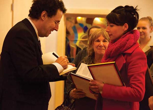Tony Kushner after his talk at Kingston's Temple Emanuel on November 18. - LEIGH STEVENS