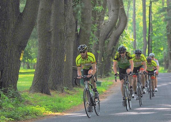 Bikers in the Ride the Ridge Bike Challenge in June at the High Meadow School in Stone Ridge. - MARTIN WEINER