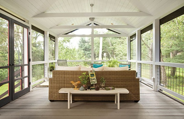 The new screened-in porch is where Craigmile and O'Malley spend most of their time when it's warm enough. - DEBORAH DEGRAFFENREID