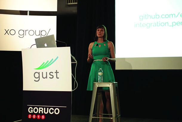 Eileen Uchitelle speaks at GORUCO, the Gotham Ruby Conference, in New York City on June 20, 2015. - JESSE CHAN-NORRIS