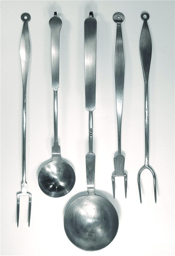 Traditional forged steel ladels and forks from - High Falls blacksmith Jonathan Nedbor.