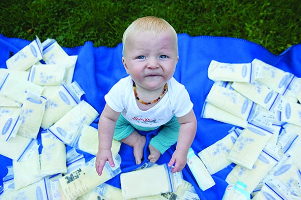 Eight-month-old Calev was adopted into the Rabe-Simon family and - has been entirely breastfed with donated breast milk.
