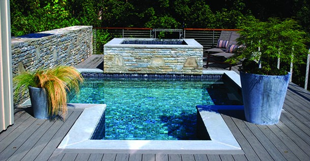 Dipping pool, spa, stonework, deck layout, and planters all designed by Bloom. - LARRY DECKER
