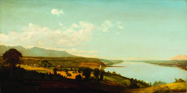 "The paintings of Jervis McEntee are on display at the Dorsky Museum in New Paltz and the Fred J. Johnston Museum in Kingston this fall. - VIEW ON THE HUDSON NEAR THE RONDOUT, JERVIS MCENTEE, OIL ON CANVAS, 25"" X 50"", COLLECTION OF RICHARD SHARP."
