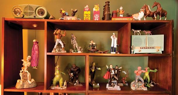 Aurora's model monsters from the 1960s on display in the bedroom. - DEBORAH DEGRAFFENREID