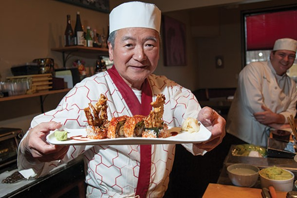 Sushi master Makio Idesako presenting a Spider roll - ROY GUMPEL