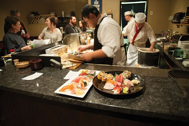 Assorted sushi on the bar at SushiMakio - ROY GUMPEL