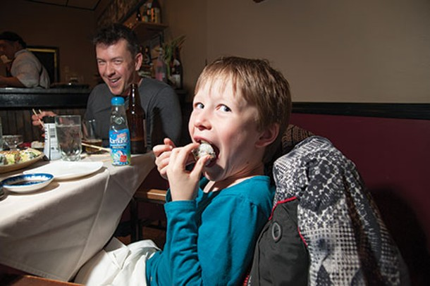 Oliver Raper and his father Kevin at SushiMakio in Kingston - ROY GUMPEL
