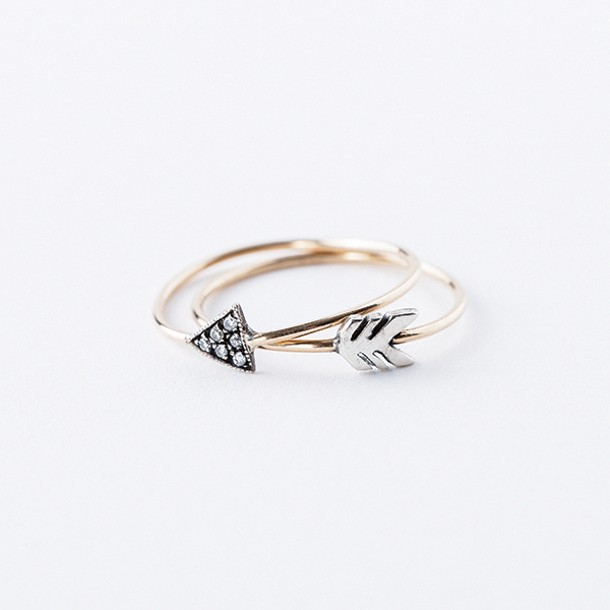 14k yellow gold and sterling silver diamond arrow rings from Hummingbird Jewelers in Rhinebeck