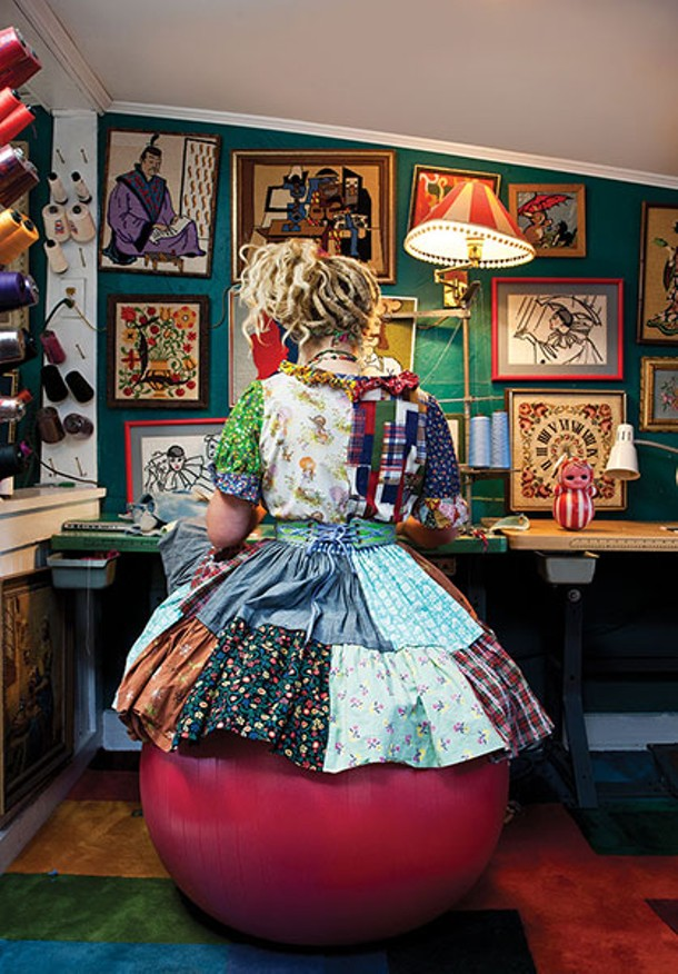 """O'Sullivan in her sewing room. She likes working with wool because """"it has a nice structural element that you can sculpt."""" - DEBORAH DEGRAFFENREID"""