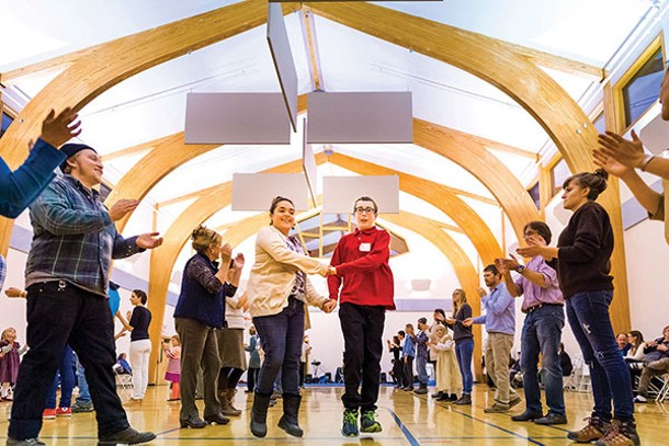Community square dancing event in the Phoenix Center