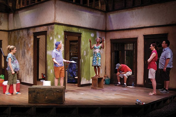 """A rehearsal of """"Clybourne Park"""" with Michael Irwin Pollard, Naja S. Selby, and Ryan Quinn at Shadowland Stages in 2015."""