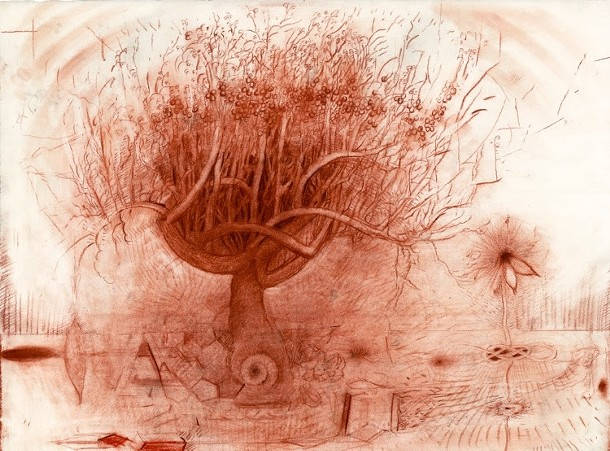 Ripe Apple with View Underground, Gregory Crane, chalk and conte crayon on paper, 1992 - GREGORY CRANE