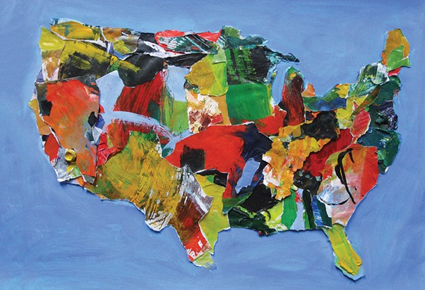 "U.S.A (No.74), Michael Crawford, acrylic on torn palette paper on paper, 22""x 30"", 2012"