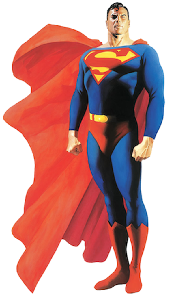 Superman, drawn by Alex Ross; conceived in 1933 by Jerry Seigel and Joe Shuster