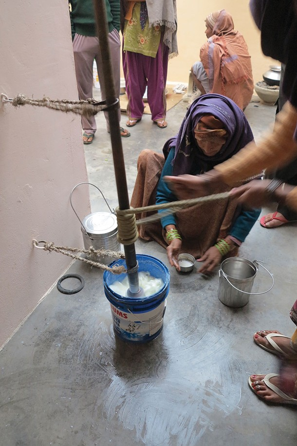 Traditional buttermaking in India uses a system of ropes to spin a center pole that churn water buffalo milk.