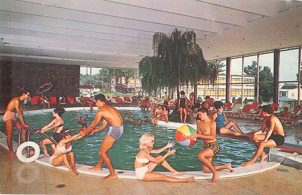 Postcard, ca. 1960, by Bill Bard Associates. Indoor pool, Laurels Hotel and Country Club on Sackett Lake, Monticello New York.