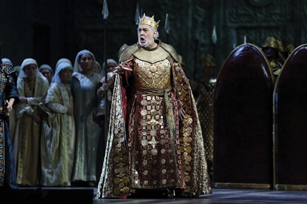"""Placido Domingo in the title role of Verdi's """"Nabucco,"""" streaming January 7 at the Baradavon, part of the series The Met: Live in HD."""