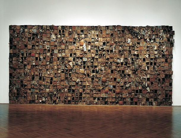 "Number 43, Leonardo Drew, 1994-96, mixed media cotton fabric rust string wood, 132"" x 288 """